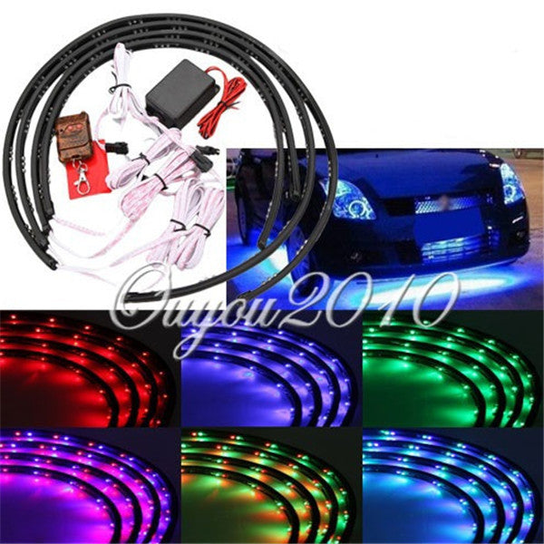 High quality 7 color led rgb strip flash light under car glow high quality 7 color led rgb strip flash light under car glow underbody system neon lamp kit remote 24x 2 36x 2 mozeypictures Choice Image