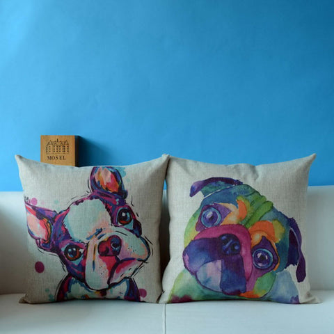 French Bulldogs Coloful Pillow Case 3D