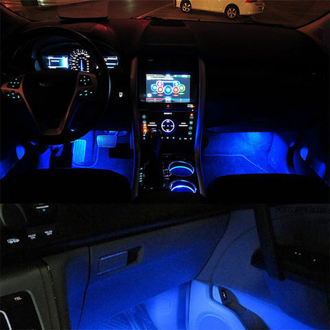 Blue 4 in 1 12V 4 x 3 LED car Interior light Decorative Atmosphere