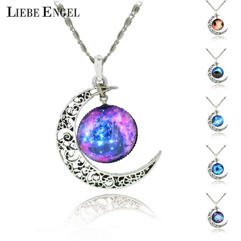 Brand  Silver Color Jewelry Fashion Moon Statement Necklace Glass