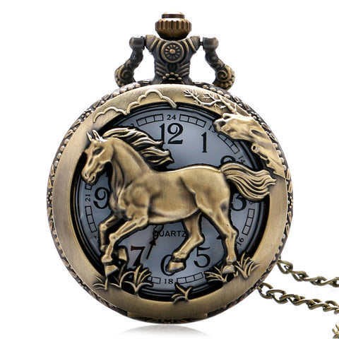 Bronze Copper Horse Necklace Chain Pendant Pocket Watch 50%OFF