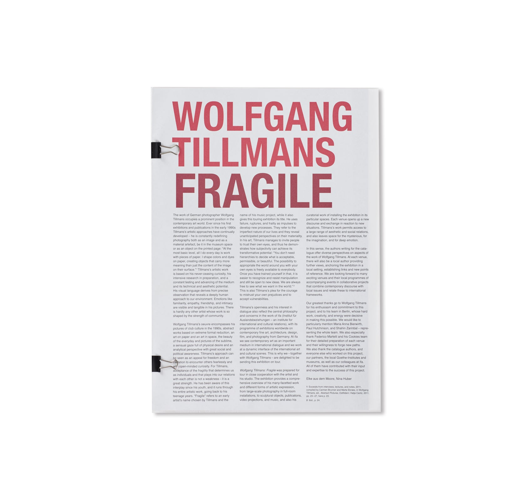 FRAGILE by Wolfgang Tillmans