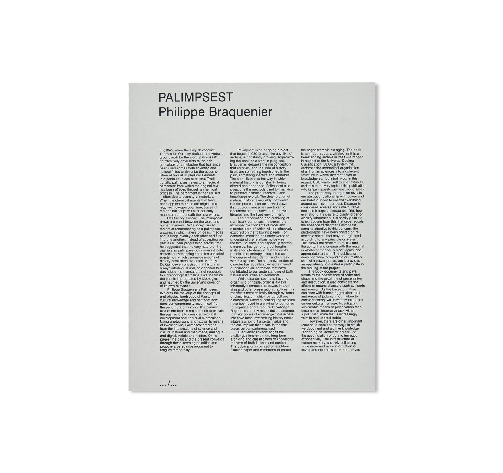 PALIMPSEST by Philippe Braquenier