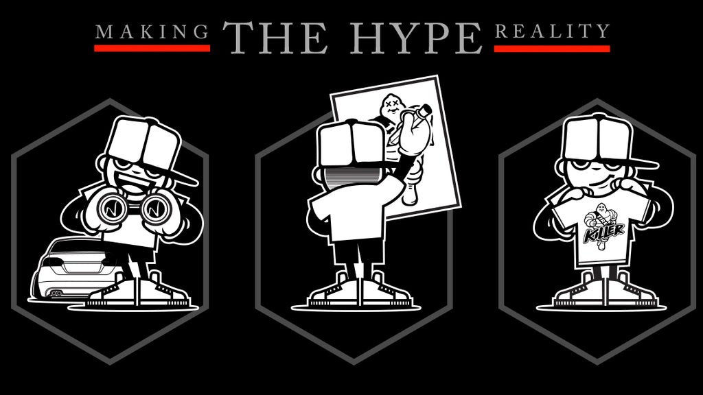 An Illustration that describes how HypeStance creates it's product concepts. Research hype automotive trends, sketch up a concept, produce automotive products.