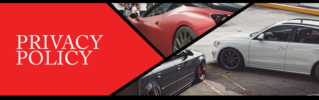 Privacy Policy page topper image featuring a stanced Audi A4, Audi Q5, and Ferrari