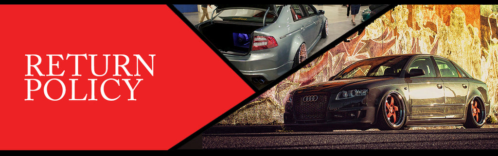 Return policy page topper image featuring a stanced Acuara and Audi