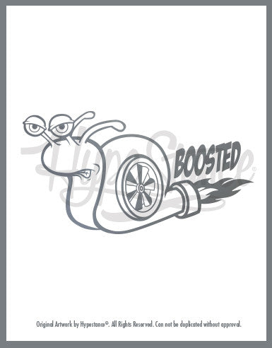 Turbocharged snail with the words Boosted a vinyl sticker by HypeStance