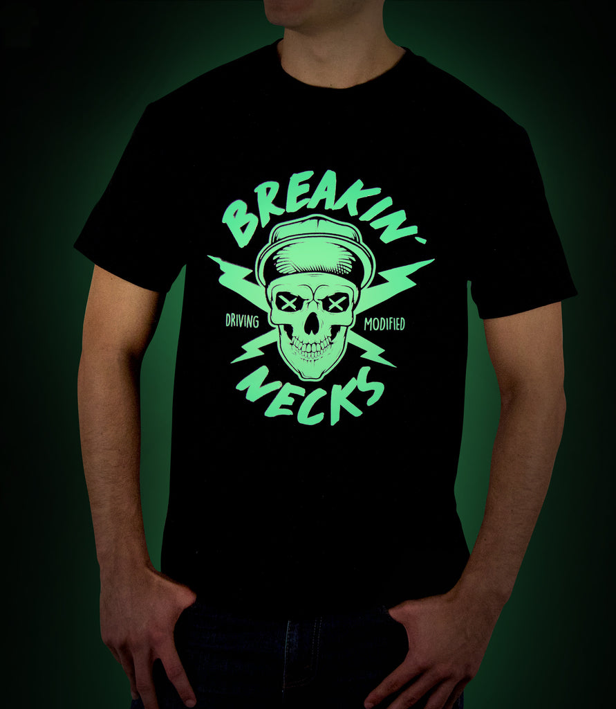 Glow in the Dark - Breakin' Necks Skull Graphic Tee - Hypestance, Car Tshirts