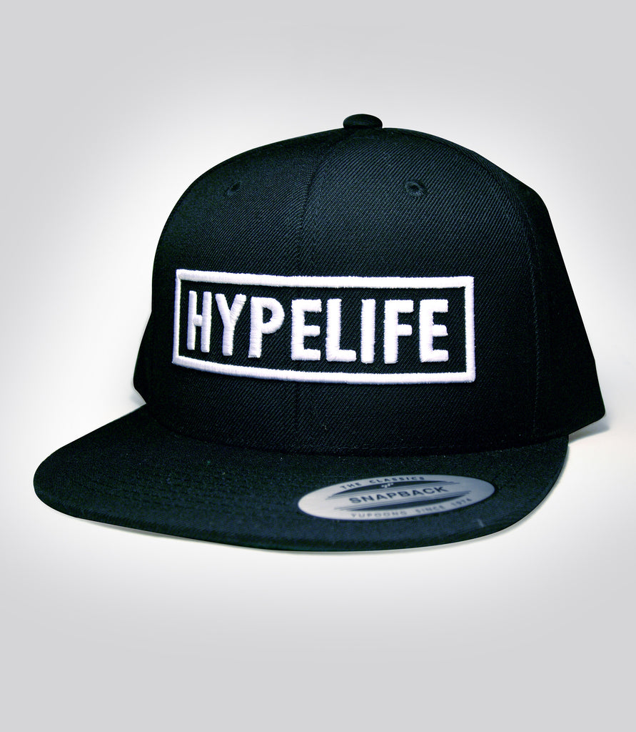 Black HypeLife Block Embroidered in white Front and back - Snap Back Hat - Hypestance, Hat