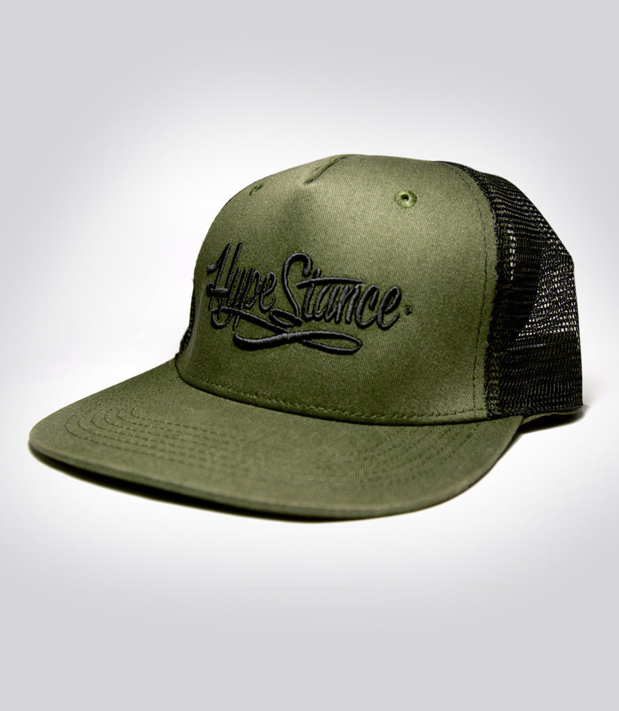 Black HypeStance Script Embroidered - Military Green Trucker Hat - Hypestance