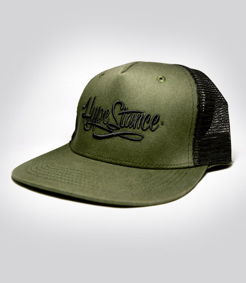 Black HypeStance script puff embroidery on military Green Trucker Hat