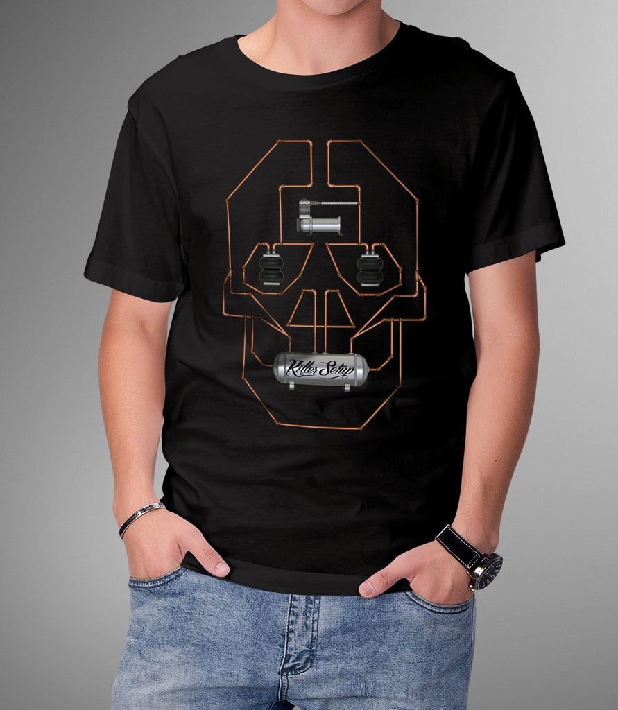 Killer Setup Hard Line Skull Black T shirt - Hypestance, Car Tshirts