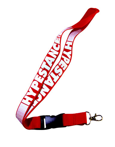 Red high quality lanyard with white silkscreened HypeStance lettering.