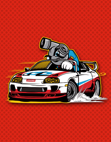 "Supra Race Cart ""Super Spool Bros."" Automotive Die Cut Sticker - Hypestance, Car sticker"
