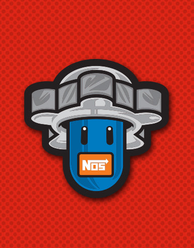 "Power Up NOS Bottle ""Super Spool Bros."" Automotive Die Cut Sticker - Hypestance, Car sticker"