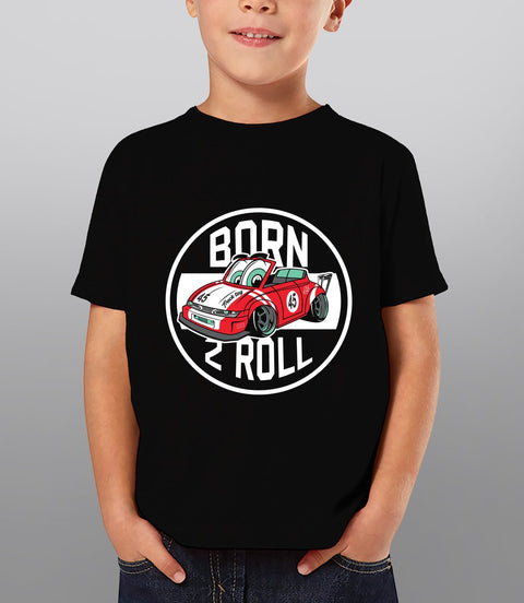 Born 2 Roll - Graphic Car Tee for Kids