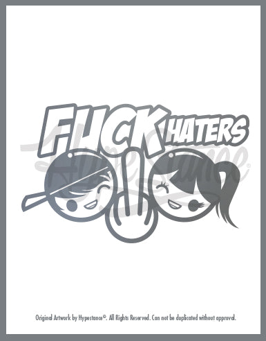 Fuck Haters (Girl and Boy Character) Sticker - Hypestance, Car sticker