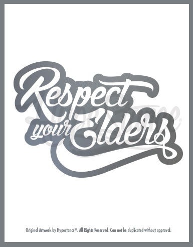 Respect your Elders Script Sticker - Hypestance, Car sticker