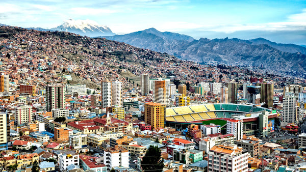 An overview of the Bolivian Capital featuring the Olympic Stadium Hernando Siles.