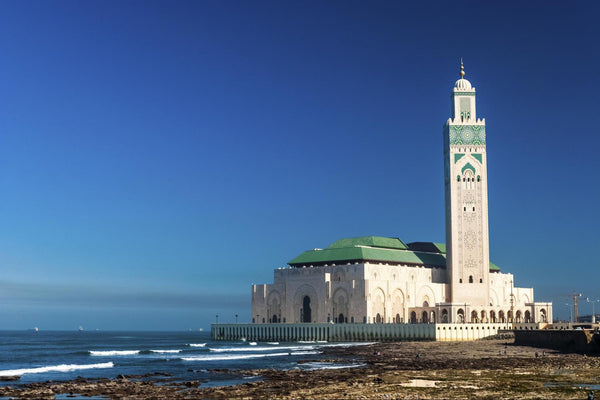 Hassan II Mosque at La Corniche Beach in Casablanca, Morocco.