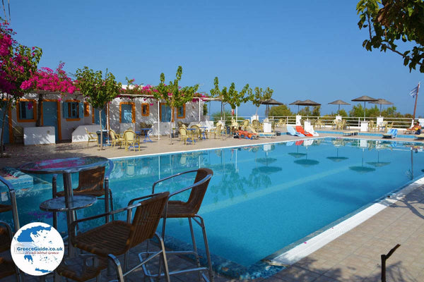 The pool from Santorini Camping, Bungalows and Youth Hostel.