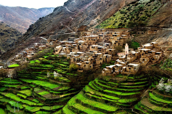 Imlil, a village situated in the High Atlas mountain range in Morocco