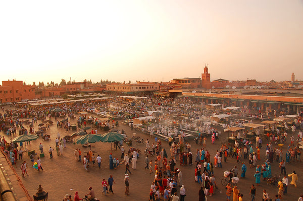 Jmaa El-Fnaa, a traditional market in Marakesh, Morocco.