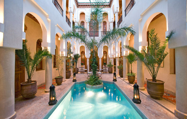 A view of the pool in the Riad Bad Firdaus in Marrakesh, Morocco.