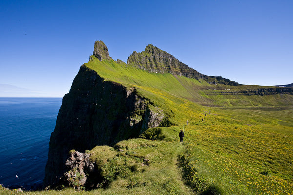 A mountain cliff belonging to a region in Iceland known as the Westfjords.