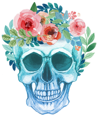 Flowered Watercolour Skull