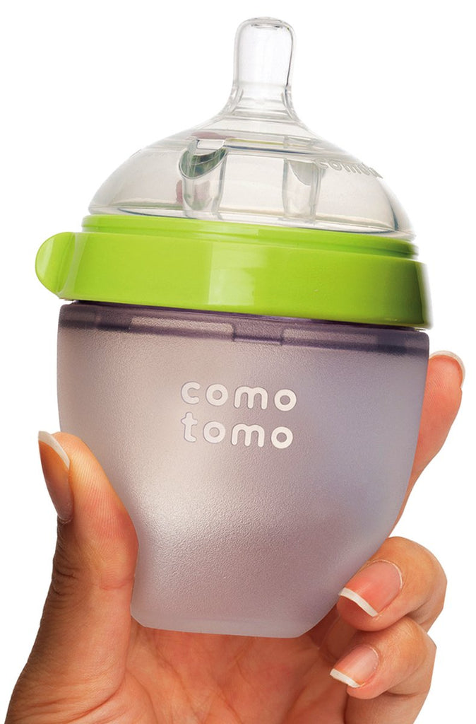 Comotomo squeezy silicone baby bottle green 150ml