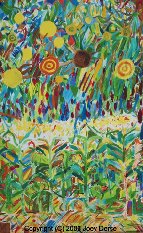 Limited edition Giclee of Joey Derse's Corn, Sumac, and Sunflowers