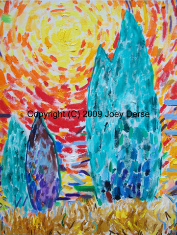 Limited edition Giclee of Joey Derse's Cedar Trees #3