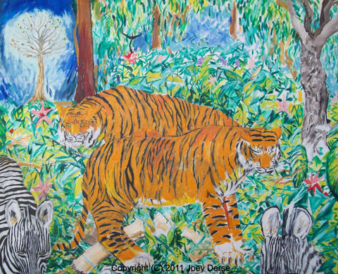 Limited edition Giclee of Joey Derse's Stalking Tiger Hidden Zebra