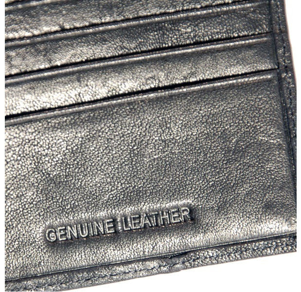 Black Leather Wallet - Side Folding