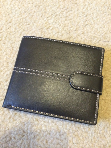 Black Leather Wallet with White Stitching