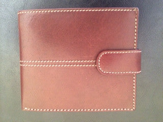 Brown leather wallet with white stitching