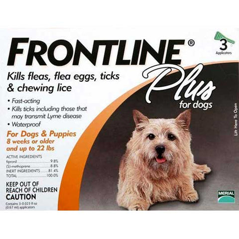 Frontline Flea Control Plus for Dogs And Puppies 11-22 lbs 3 Pack - Johnny's Pet Supply
