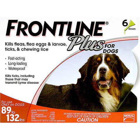 Frontline Flea Control Plus for Dogs And Puppies 89-132 lbs 6 Pack - Johnny's Pet Supply
