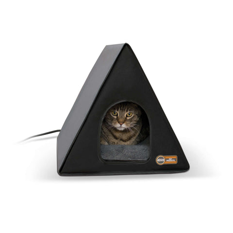 "K&H Pet Products Heated A-Frame Cat House Gray / Black 18"" x 14"" x 14"" - Johnny's Pet Supply"