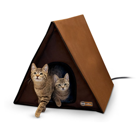 "K&H Pet Products Outdoor Heated Multiple Kitty A-Frame Chocolate 35"" x 20.5"" x 20"" - Johnny's Pet Supply"