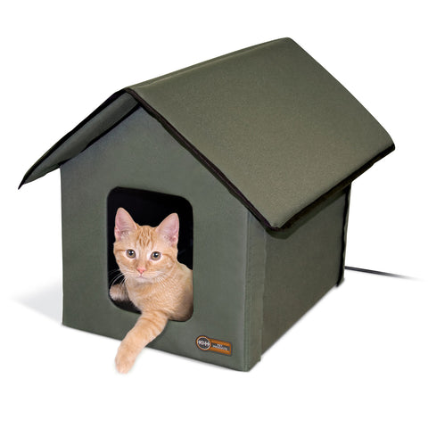 "K&H Pet Products Outdoor HEATED Kitty House Beige 22"" x 18"" x 17"" - Johnny's Pet Supply"