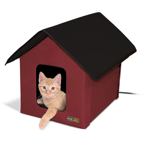 "K&H Pet Products Outdoor Heated Kitty House Barn Red / Black 22"" x 18"" x 17"" - Johnny's Pet Supply"