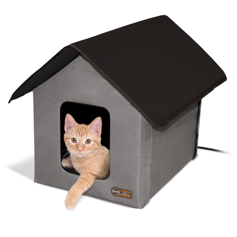 "K&H Pet Products Heated Outdoor Kitty House Gray / Black 22"" x 18"" x 17"" - Johnny's Pet Supply"