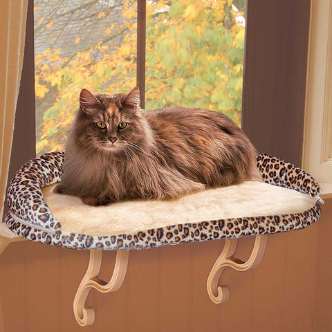 "K&H Pet Products Deluxe Kitty Sill with Bolster Leopard 14"" x 24"" x 10"" - Johnny's Pet Supply"