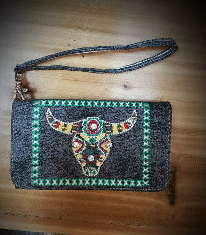 Cow Skull Phone Wallet - Blessed and Beautiful Boutique