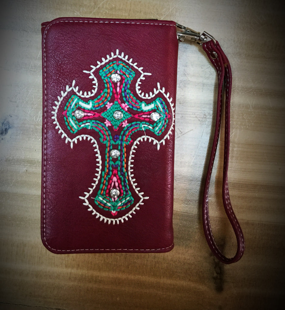 Red Turquoise Cross Phone Wallet - Blessed and Beautiful Boutique