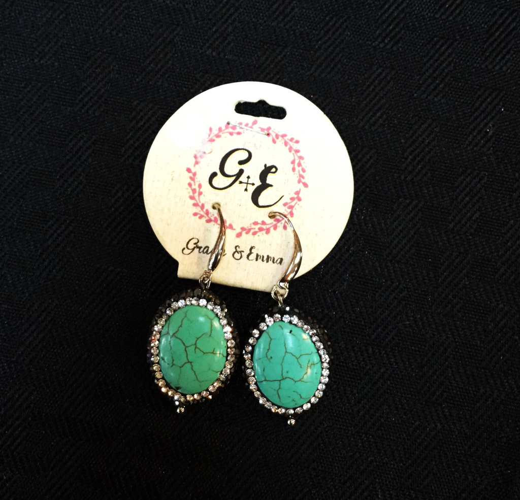 Turquoise earrings with silver and pewter jewls - Blessed and Beautiful Boutique