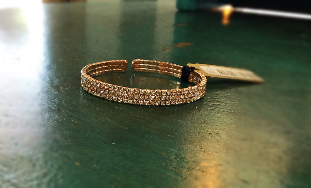 3 tier Rhinestone crystal on Gold bracelet - Blessed and Beautiful Boutique