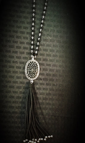 Inspired silver/black crystal necklace w/ tassel - Blessed and Beautiful Boutique